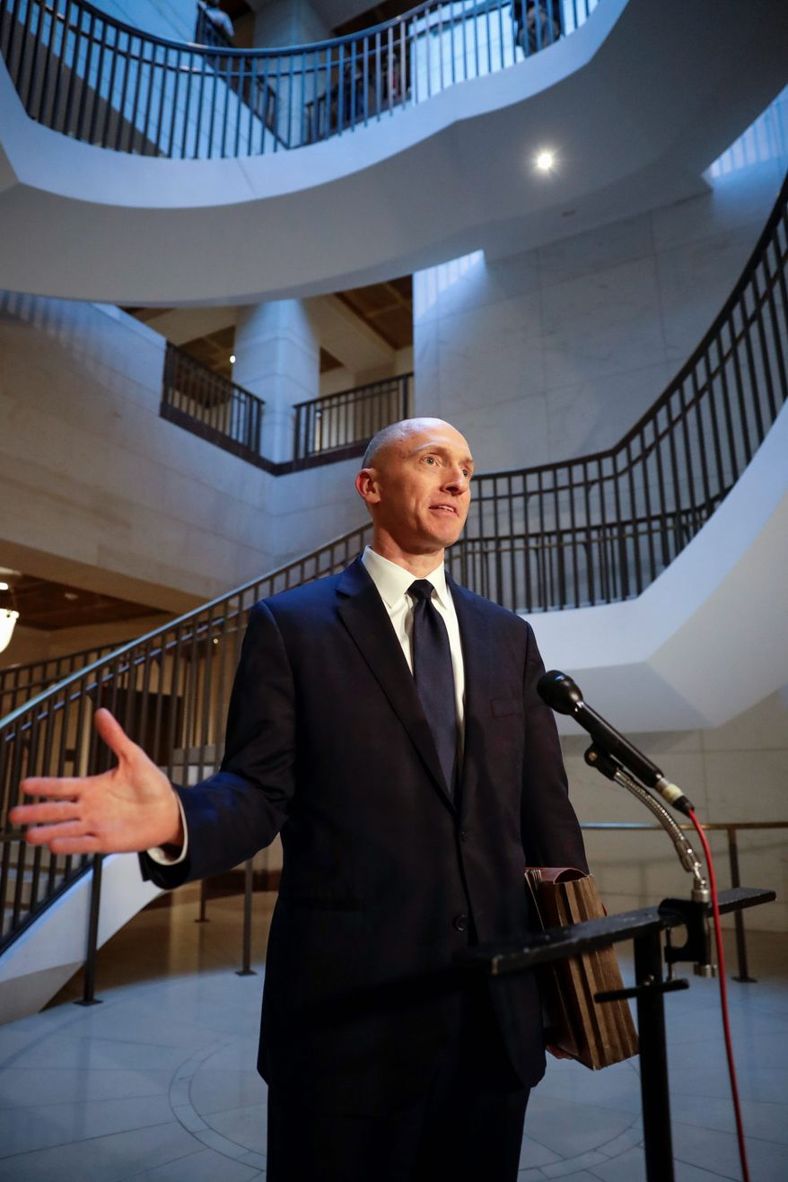 """""""It had been a mystery to me how MSNBC always miraculously knew about/was well staked-out for my Hart Senate Office Building visits, despite my best efforts to stay undercover,"""" tweeted Carter Page. (Associated Press)"""