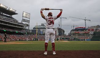Washington Nationals right fielder Bryce Harper (34) prepares to bat during a baseball game against the San Francisco Giants at Nationals Park, Sunday, June 10, 2018, in Washington. The Giants won 2-0. (AP Photo/Alex Brandon) **FILE**