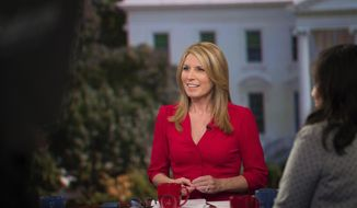 """This June 15, 2017 photo released by MSNBC shows Nicolle Wallace on the set of her show """"Deadline: White House,"""" in Washington. Her show airs weekdays at 4 p.m. (Nathan Congleton/MSNBC via AP)"""