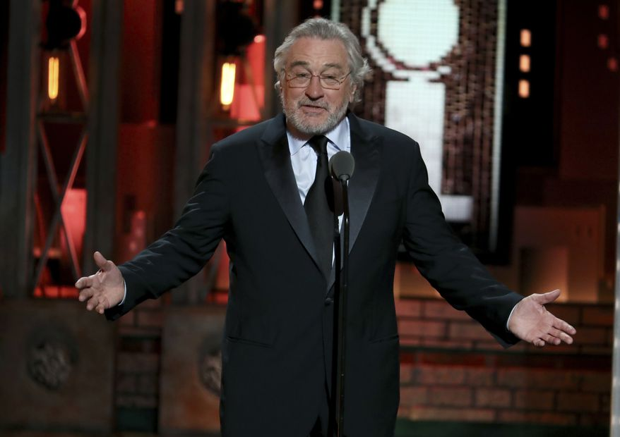 Robert De Niro gestures while introducing a performance by Bruce Springsteen at the 72nd annual Tony Awards at Radio City Music Hall on Sunday, June 10, 2018, in New York. (Photo by Michael Zorn/Invision/AP)