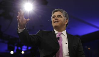 Sean Hannity of Fox News arrives on stage to speak with Republican National Committee Chairman Reince Priebus during the Conservative Political Action Conference (CPAC), Friday, March 4, 2016, in National Harbor, Md. (AP Photo/Carolyn Kaster)  ** FILE **