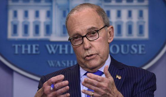 Inn this June 6, 2018, photo, Senior White House economic adviser Larry Kudlow speaks during a briefing at the White House in Washington. (AP Photo/Susan Walsh)