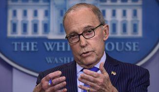 Senior White House economic adviser Larry Kudlow speaks during a briefing at the White House in Washington. (AP Photo/Susan Walsh)