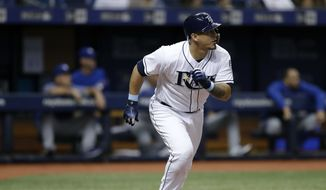 Tampa Bay Rays' Wilson Ramos heads toward first on his two-run home run off Toronto Blue Jays starting pitcher Jaime Garcia during the third inning of a baseball game Tuesday, June 12, 2018, in St. Petersburg, Fla. (AP Photo/Chris O'Meara) **FILE**