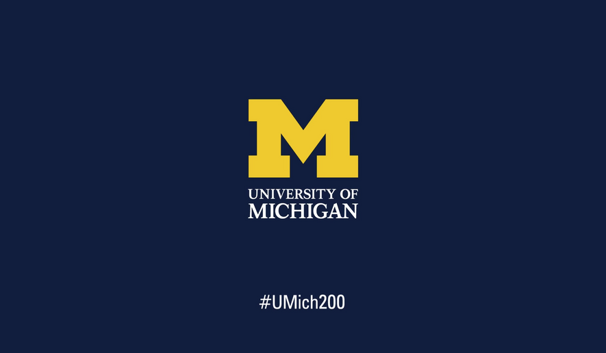University of MIchigan logo, screen captured from a UM YouTube video celebrating the schools bicentennial. (YouTube)