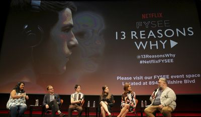 Jenelle Riley, director Tom McCarthy, Dylan Minette, Katherine Langford, Kate Walsh and executive producer Brian Yorkey seen at '13 Reasons Why' Netflix FYSee exhibit space with a Q&A at the Samuel Goldwyn Theater on Friday, June 02, 2017, in Los Angeles. (Photo by Blair Raughley/Invision for Netflix/AP Images)