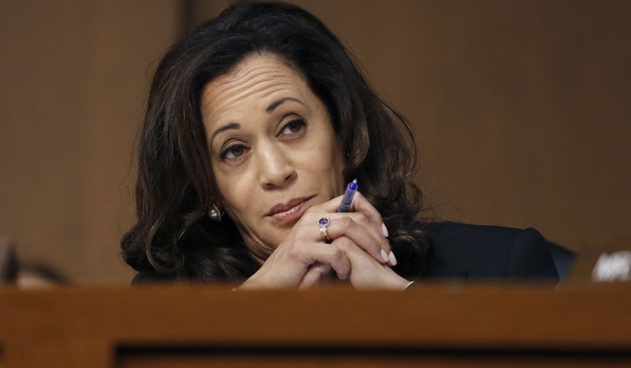 Sen. Kamala Harris, California Democrat, reacts during a June 7, 2017, Senate Intelligence Committee hearing on Capitol Hill in Washington about the Foreign Intelligence Surveillance Act. (Associated Press) **FILE**