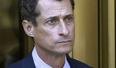 Former New York Congressman Anthony Weiner pled guilty to a sexting charge of transferring obscene material to a minor, and was sentenced to 21 months in prison, ordered to pay a $10,000 fine and was required to permanently register as a sex offender. In this Sept. 25, 2017 file photo, former Congressman Anthony Weiner leaves federal court following his sentencing in New York. Weiner is set to report to the Federal Medical Center, Devens, Mass., Monday, Nov. 6, 2017, to serve his prison sentence in a sexting case that rocked the presidential race. (AP Photo/Mark Lennihan, File)