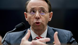 Deputy Attorney General Rod Rosenstein threatened to investigate members of Congress and their staffs if lawmakers continued to oversee the increasingly rogue Justice Department. (Associated Press/File)