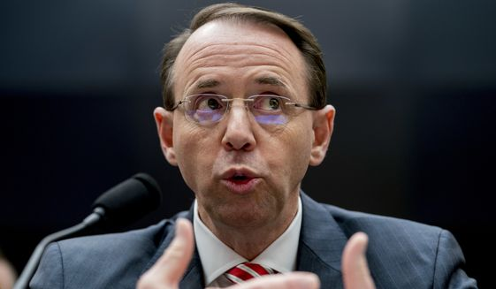 """Deputy Attorney General Rod Rosenstein is empowered to look at virtually any Russian contact no matter how """"stale"""" it is. (Associated Press/File)"""
