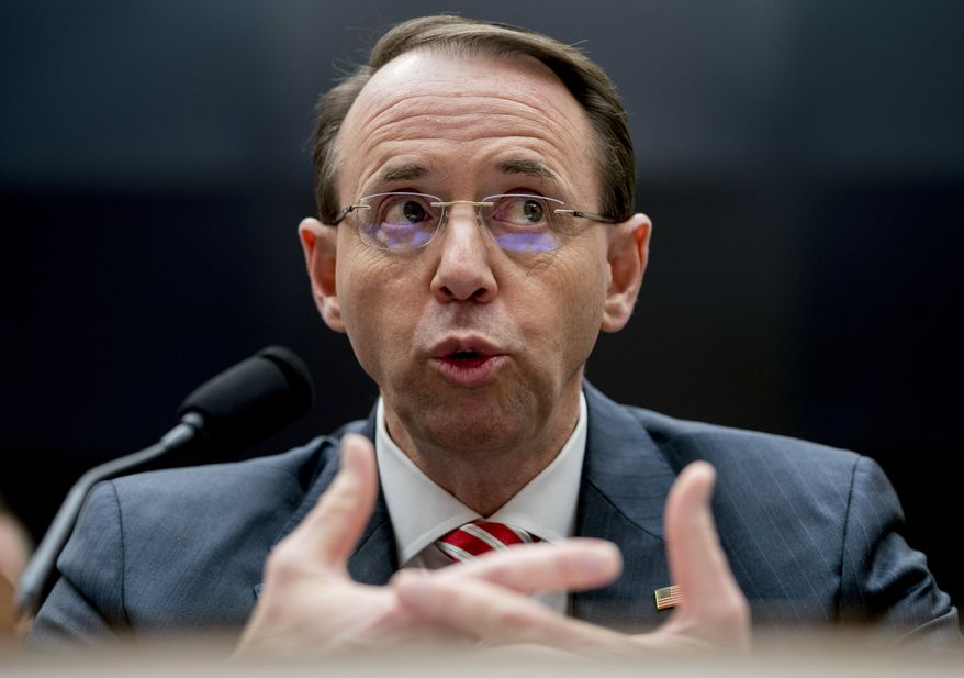 "Deputy Attorney General Rod Rosenstein is empowered to look at virtually any Russian contact no matter how ""stale"" it is. (Associated Press/File)"
