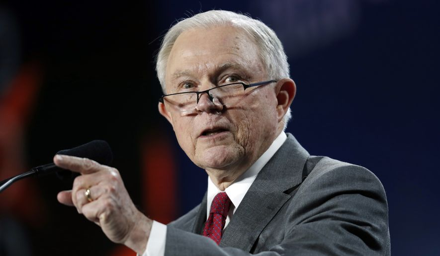 Attorney General Jeff Sessions makes a point during his speech at the Western Conservative Summit Friday, June 8, 2018, in Denver. (AP Photo/David Zalubowski) ** FILE **
