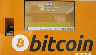 This May 11, 2018, file photo shows a bitcoin ATM in Hong Kong. (AP Photo/Kin Cheung, File)