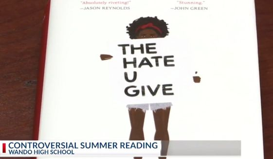 "Author Angie Thomas' ""The Hate U Give"" is one of multiple books on Wando High School's summer reading list that local police are likening to anti-cop indoctrination. South Carolina's president of the Fraternal Order of Police Tri-County Lodge #3, John Blackmon, told a local NBC affiliate on June 11 that angry community members have contacted police about the material. (Image: NBC-2 Charleston screenshot)"