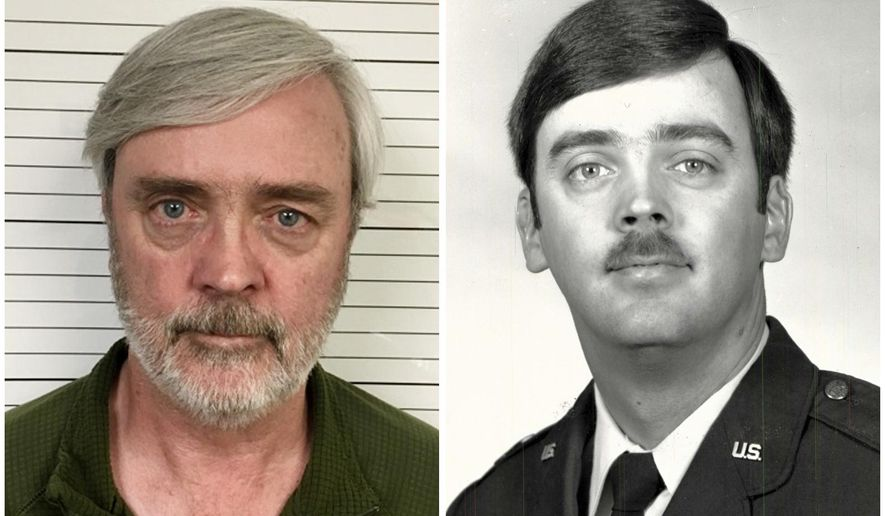 FILE - This combination of photos provided by the U.S. Air Force Office of Special Investigations shows William Howard Hughes Jr., after being captured in June 2018, at left, and an image from his time at the U.S. Air Force. Hughes, a Kirtland Air Force Base officer with top security clearance, who deserted 35 years ago and was arrested in California last week worked for years as a consultant for the University of California. (U.S. Air Force Office of Special Investigations via AP, File)