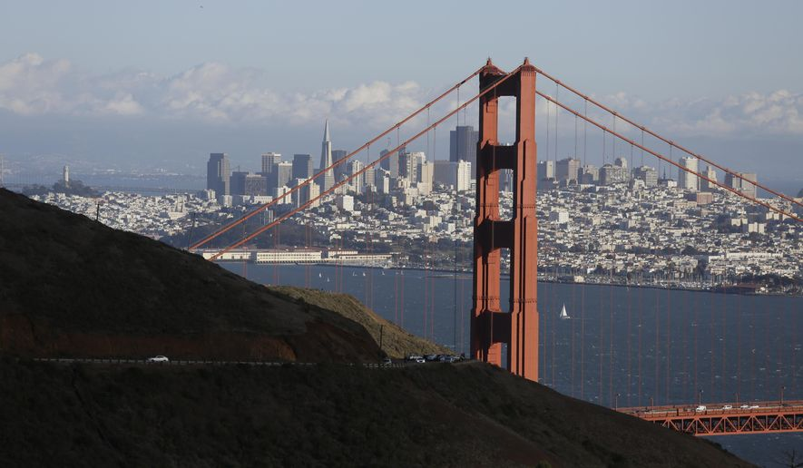 FILE- This Oct. 28, 2015, file photo shows the Golden Gate Bridge and San Francisco skyline from the Marin Headlands above Sausalito, Calif. An initiative that seeks to split California into three states is projected to qualify for the state's November 2018 ballot. The latest proposal for splitting up the Golden State  would create the states of Northern California, Southern California and a narrow central coast strip retaining the name California.Even if voters approve the initiative an actual split would still require the approval of the state Legislature and Congress. (AP Photo/Eric Risberg, File)