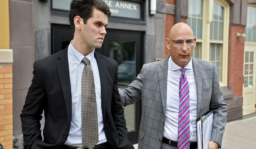 """Ryan Burke, a former Beta Theta Pi brother, pleaded guilty for his role in Timothy Piazza's death at the Centre County Courthouse Annex on Wednesday, June 13, 2018 in Bellefonte, Pa. Burke's attorney, Philip Masorti said """"this young man is coming forward to accept responsibility.""""  (Abby Drey/Centre Daily Times via AP)"""