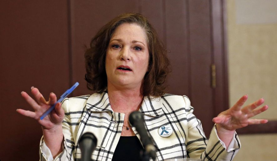 "FILE - In this April 5, 2018 file photo McKenna Denson speaks with reporters during a news conference in Salt Lake City. Denson, a woman who says a former Mormon missionary leader raped her in the 1980s is accusing church officials of knowing about the man's prior sexual misconduct before he was appointed. Denson's attorneys allege in a court document filed Tuesday, June 13, 2018, that Joseph L. Bishop disclosed to church leaders his ""acts of sexual predation"" while he was a mission president in Argentina in the late 1970s. (AP Photo/Rick Bowmer, File)"