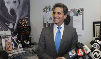 File - In this June 6, 2018 file photo, former state Sen. Mark Leno speaks to reporters in San Francisco. San Francisco mayoral candidate Leno is scheduled to make remarks about the election as the latest results show London Breed pulling ahead in a tight race. Leno's campaign declined to elaborate on the Wednesday, June 13, 2018, event.(AP Photo/Jeff Chiu, File)