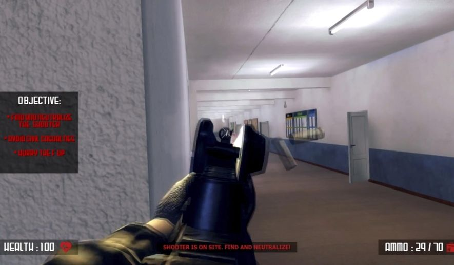 "This screen shot taken from YouTube shows a still frame from the video game ""Active Shooter.""  Acid Software, the developer of the school shooting video game is defending the product and vowing to continue selling it online as parents of slain children and other mass shooting victims work to get the game wiped off the internet. The developer recently set up two websites for the game after it was removed from the webpages of video game marketplace Steam and crowdfunding site Indiegogo.   (YouTube via AP)"