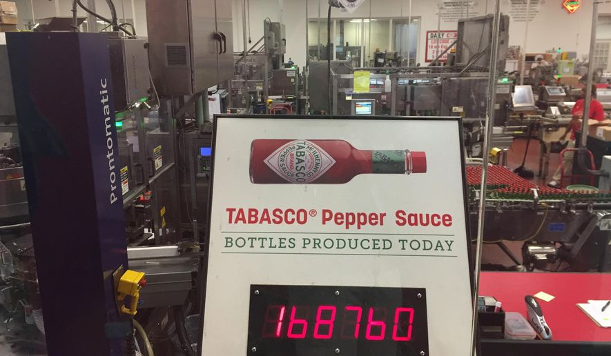 This June 4, 2018 photo shows a display that counts how many bottles of Tabasco sauce were produced at the Tabasco factory on Avery Island on that day alone by early afternoon: 168,760. The famous pepper sauce was first made in 1868 and celebrates its 150th year this year. In addition to visiting the factory, visitors can see exhibits about the history of Tabasco, enjoy free tastings and samples, shop, dine and tour a nature preserve called Jungle Gardens. (AP Photo/Beth J. Harpaz)