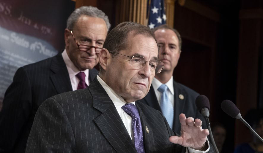 """Rep. Jerrold Nadler, D-N.Y., center, the ranking member of the House Judiciary Committee, flanked by Senate Minority Leader Chuck Schumer, D-N.Y., left, and Rep. Adam Schiff, D-Calif., ranking member of the House Intelligence Committee, respond to the Justice Department's internal 18-month review of the FBI's handling of the Hillary Clinton email investigation, on Capitol Hill in Washington, Thursday, June 14, 2018. While the report faulted former FBI Director James Comey for being """"insubordinate"""" and breaking protocols in his handling of the Hillary Clinton email investigation during the 2016 presidential election, it also concluded there was no evidence that Comey was motivated by political bias. (AP Photo/J. Scott Applewhite)"""