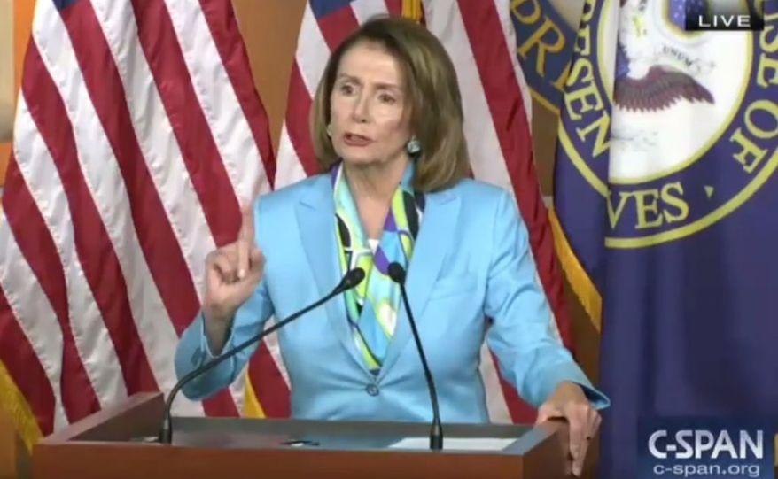 House Minority Leader Nancy Pelsoi speaks to reporters during a weekly press briefing, June 14, 2018. (Image: C-SPAN screenshot)