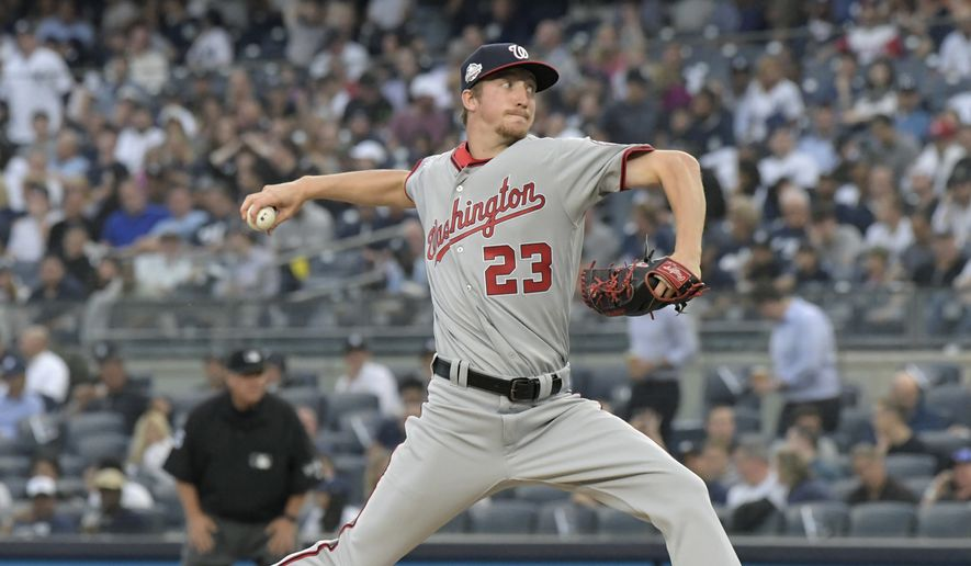Washington Nationals pitcher Erick Fedde delivers the ball to the New York Yankees during the inning of a baseball game Wednesday, June 13, 2018, at Yankee Stadium in New York. (AP Photo/Bill Kostroun) **FILE**