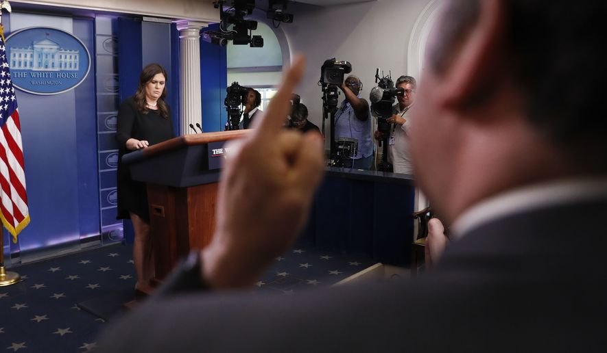 Brian Karem, executive editor of the Montgomery County Sentinel and White House correspondent for Playboy magazine, was turned away by White House press secretary Sarah Huckabee Sanders for grandstanding. (Associated Press/File)