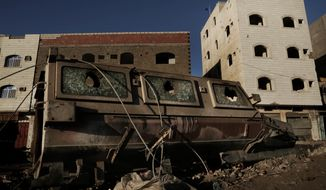 This Feb. 13, 2018, file photo shows a damaged vehicle form the 2015 battle of Aden in Yemen. Violence, famine and disease have ravished the country of some 28 million, which was already the Arab worlds poorest before the conflict began. The conflict pits a U.S.-backed, Saudi-led coalition supporting the internationally recognized government, which has nominally relocated to Aden but largely lives in exile, against rebels known as Houthis. (AP Photo/Nariman El-Mofty)