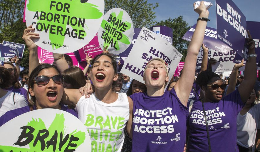 FILE - In this June 27, 2016, file photo, abortion rights activists rejoice in front of the Supreme Court in Washington as the justices struck down the strict Texas anti-abortion restriction law known as HB2. Texas abortion providers who won a landmark U.S. Supreme Court ruling in 2016 that blocked a new wave of anti-abortion efforts are now using that decision to try undoing laws on the books for decades in a lawsuit filed Thursday, June 14, 2018. (AP Photo/J. Scott Applewhite, File)