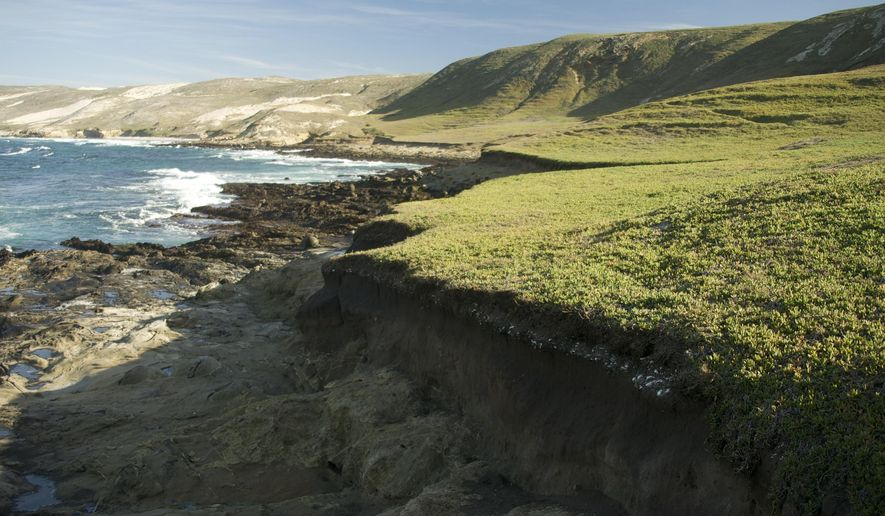 FILE - In this Jan. 2009 file photo waves break on San Miguel Island, off the coast of Southern California. The remains of a Native American man who died 10,000 years ago have been returned to the island off the Southern California mainland where they were discovered in 2005. The National Park Service said Wednesday, June 14, 2018, the remains known as Tuqan Man were recently brought back to San Miguel Island by the Santa Ynez Band of Chumash Indians, who believe he was an ancestor. (AP Photo/Damian Dovarganes,File)
