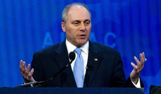 FILE - In this March 6, 2018, file photo, House Republican Whip Steve Scalise speaks at the 2018 American Israel Public Affairs Committee (AIPAC) policy conference in Washington. In the year since Scalise and others were wounded during a shooting rampage at a congressional baseball practice, mass shootings have occurred at a Texas church, a Las Vegas music festival and schools in Florida and Texas. Each incident is jarring, but GOP lawmakers say their views on gun control have not changed. (AP Photo/Jose Luis Magana, File)