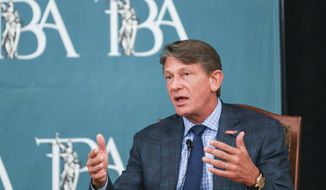 Gubernatorial candidate Randy Boyd, a Knoxville entrepreneur and former state economic development commissioner, speaks Thursday, June 14, 2018 during the forum that included four of the six major gubernatorial candidates. Russell served as moderator of the forum at The Peabody Hotel. The forum is sponsored by The Commercial Appeal and Tennessee Bar Association. (Brad Vest/The Commercial Appeal via AP)