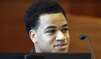 FILE- In this May 11, 2018 file photo Zachary Cruz testifies during his hearing at the Broward County Courthouse in Fort Lauderdale, Fla. The younger brother of the Florida school shooting suspect launched an anti-bullying campaign Thursday, June 14 saying he witnessed bullying against Nikolas Cruz that may have been a key factor a role in the Feb. 14 massacre at Marjory Stoneman Douglas High School. (Amy Beth Bennett /South Florida Sun-Sentinel via AP, Pool, File )
