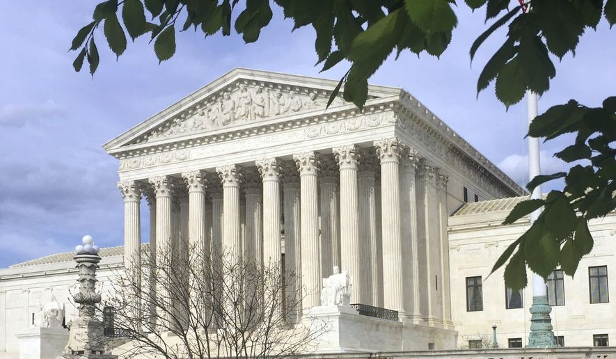 This April 23, 2018, photo shows the Supreme Court in Washington. (Associated Press) **FILE**
