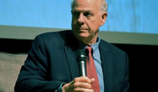 FILE - In this April 14, 2018 file photo, U.S. Rep. Steve Pearce, R-NM, during a forum at the National Hispanic Cultural Center in Albuquerque. Republican gubernatorial candidate Steve Pearce said Thursday, June 14, 2018, he would immediately suspend New Mexico's embattled teacher evaluation system if elected. He said educators are being judged unfairly as the state struggles to improve student academic performance. (AP Photo/ Russell Contreras, File)
