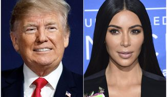 This combination photo shows President Donald Trump at a campaign rally in Moon Township, Pa., on March 10, 2018, left, and Kim Kardashian West at the NBCUniversal Network 2017 Upfront in New York on May 15, 2017. Trump commuted the sentence Wednesday, June 6, of a woman serving a life sentence for drug offenses whose cause was championed by reality TV personality Kim Kardashian West in a recent visit to the White House. (Photo by Evan Agostini/Invision/AP)