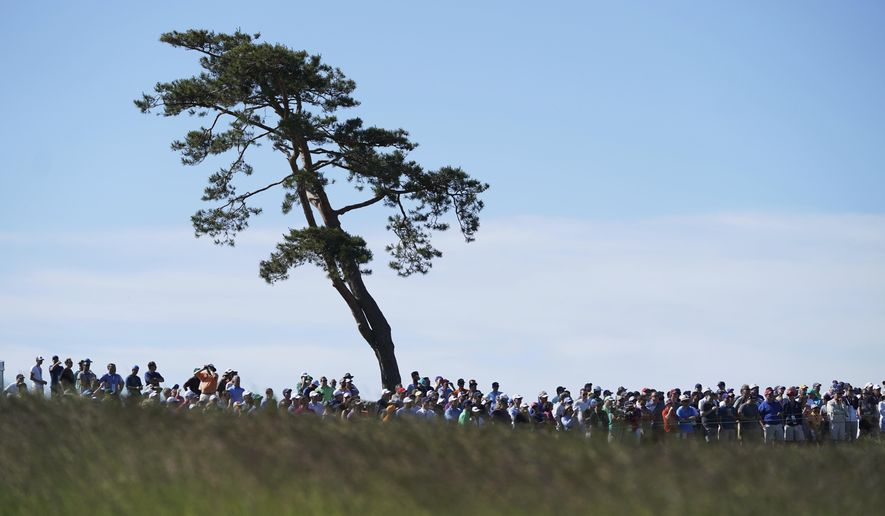 Spectators watch play during the first round of the U.S. Open Golf Championship, Thursday, June 14, 2018, in Southampton, N.Y. (AP Photo/Carolyn Kaster)