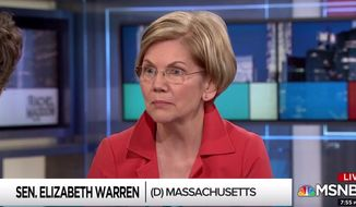 "Massachusetts Sen. Elizabeth Warren discusses midterm elections with MSNBC's Rachel Maddow, June 14, 2018. The Democrat said she lives ""in terror"" every day of what might happen if her party fails to resonate with voters. (Image: MSNBC screenshot)"