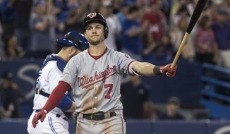 Washington Nationals' Trea Turner reacts after striking out for the final out in the team's baseball game against the Toronto Blue Jays on Friday, June 15, 2018, in Toronto. (Fred Thornhill/The Canadian Press via AP)