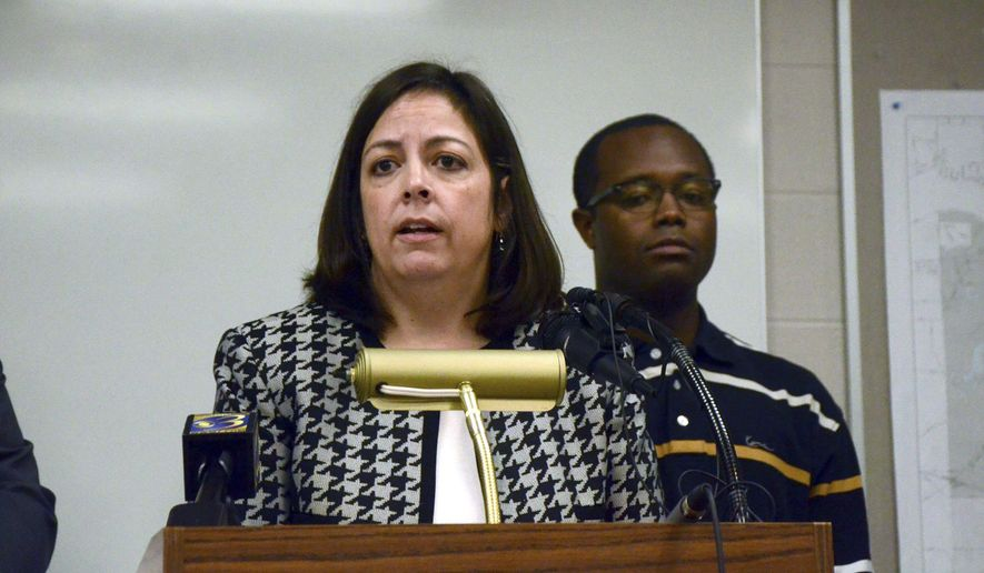 Battle Creek City Manager Rebecca Fleury speaks during a press conference, Friday. June 15, 2018, in Battle Creek, Mich. Health officials are advising families in Battle Creek not to allow infants to drink from a city's water system after finding elevated levels of manganese. (Kalea Hall/Battle Creek Enquirer via AP)