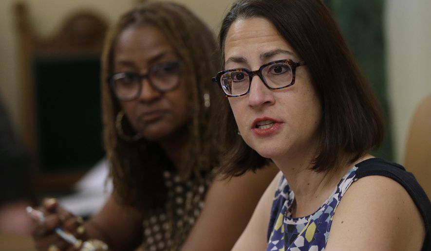Assemblywoman Laura Friedman, D-Glendale, right, discusses the creation of a new investigative unit to focus on harassment complaints, while talking with reporters Friday, June 15, 2018, in Sacramento, Calif. Friedman and state Sen. Holly Mitchell, D-Los Angeles, left, co-chairs of a legislative subcommittee looking into sexual harassment at the Capitol, outlined a draft proposal on how to improve the legislature's sexual misconduct policies after several lawmakers were accused of groping and other inappropriate acts. (AP Photo/Rich Pedroncelli)