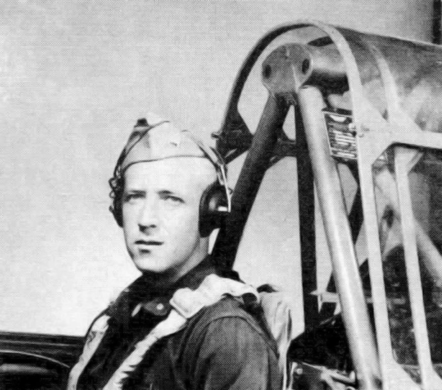 This 1943 photograph released by the U. S. Army Air Forces, the predecessor to today's Air Force, shows Second Lt. Robert Keown in the cockpit of a training aircraft in California. Keown, a Georgia native and Alabama resident who was killed in a crash in Papua New Guinea in 1944 during World War II, is buried Friday, June 15, 2018, in Arlington National Cemetery in Washington, D.C. (U. S. Army Air Forces via PacificWrecks.com via AP)