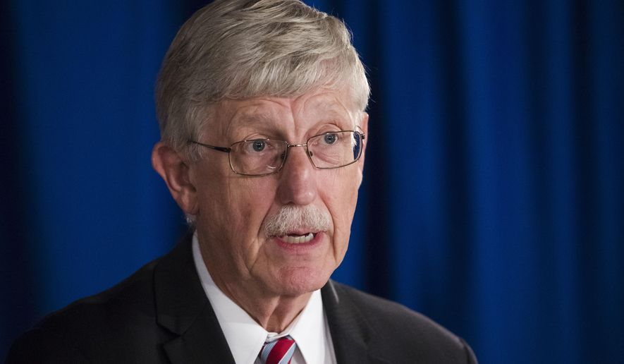 National Institutes of Health Director Dr. Francis Collins speaks during a news conference in Trenton, N.J., on Sept. 18, 2017. (Associated Press) **FILE**