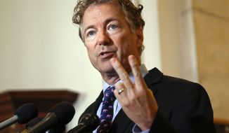 FILE - In this Sept. 25, 2017, file photo, Sen. Rand Paul, R-Ky., speaks during a news conference on Capitol Hill in Washington. Rene Boucher,  Paul's neighbor, is set to be sentenced in federal court Friday, June 15, 2018, for an attack last year in the lawmaker's yard. (AP Photo/Pablo Martinez Monsivais, File)