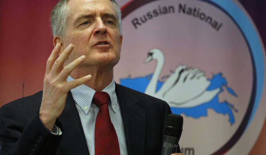 FILE - In this March 22, 2015 file photo,  Jared Taylor speaks during the International Russian Conservative Forum in St.Petersburg, Russia.  A California judge has refused to throw out a lawsuit that accuses Twitter of violating the free speech rights of a leading white nationalist figure by banning his social media account. California Superior Court Judge Harold Khan ruled in Taylor's favor during a hearing Thursday, June 14, 2018 on Twitter's request to dismiss the suit, court records show. Taylor claims Twitter permanently suspended accounts belonging to him and hundreds of other far-right users in December based solely on their political views and affiliations. (AP Photo/Dmitry Lovetsky)