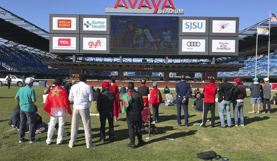 World Cup fans show up early to watch the match between Morocco and Iran at Avaya Stadium, the home of the Major League Soccer club San Jose Earthquakes, Friday, June 15, 2018, in San Jose, Calif. The Earthquakes are showing all 64 games of the tournament at their stadium for free. (AP Photo/Josh Dubow)