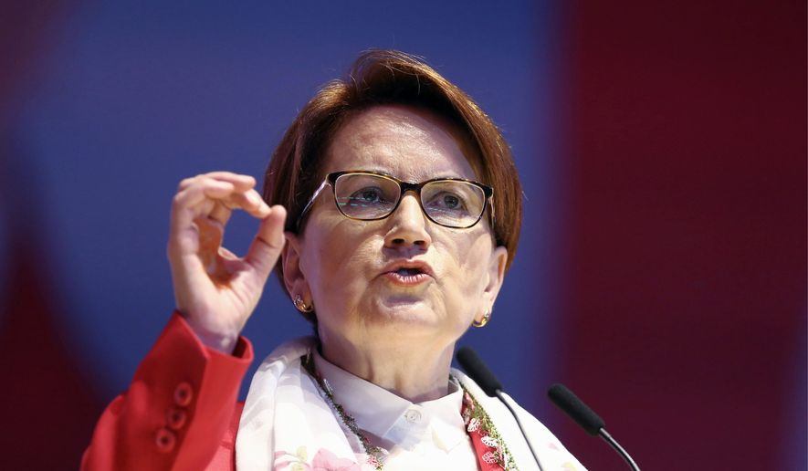 Meral Aksener is currently third in the polls and has emerged as a primary challenger to Turkey leader Recep Tayyip Erdogan's 15-year rule. (Associated Press)