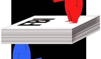 Illustration on the I.G. report on the DOJ by Alexander Hunter/The Washington Times